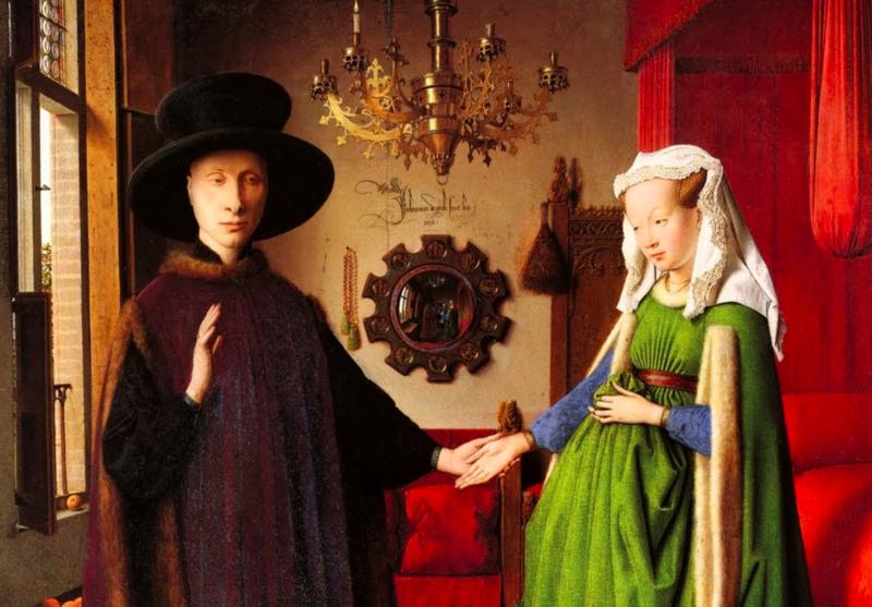 Ян ван Эйк, «Портрет четы Арнольфини» (фрагмент)