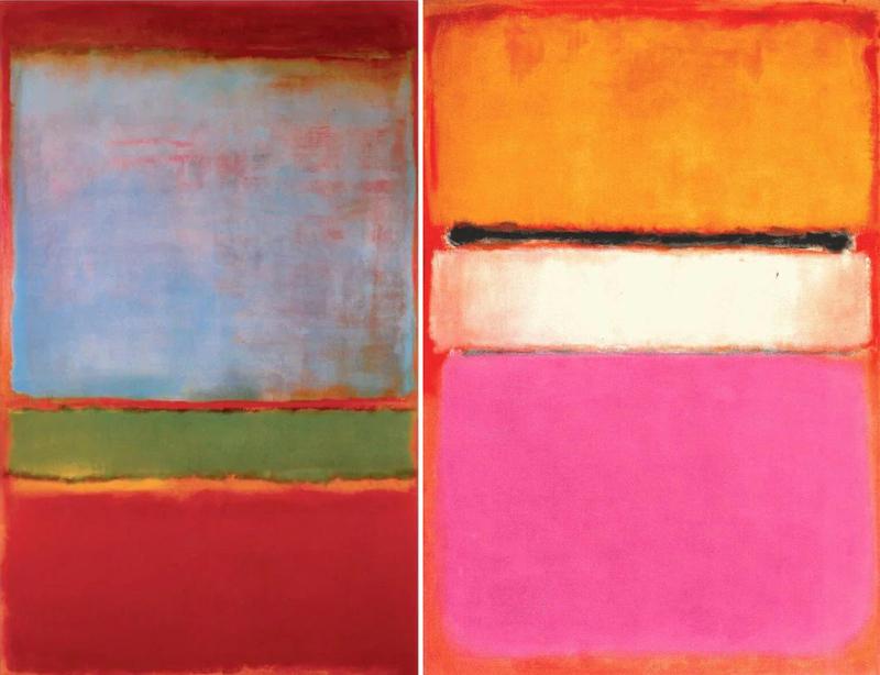 Марк Ротко. № 6 (Фиолетовое, зелёное и красное). 1951. / Марк Ротко. Белый центр (жёлтое, розовое и лиловое на розовом). 205.8×141 см.1950