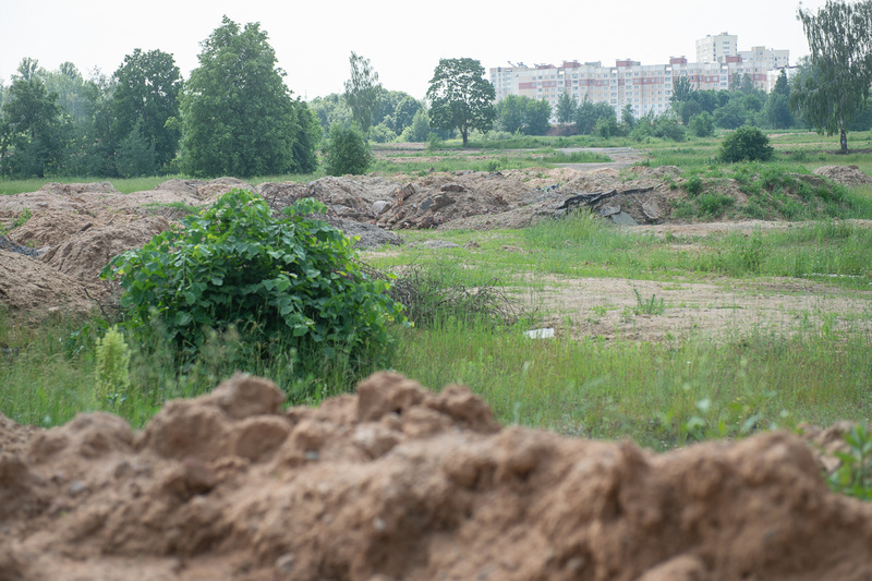 Место массовых расстрелов и захоронений на фоне надвигающейся застройки со стороны Лебяжьего