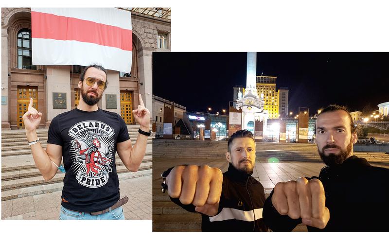 Андрей под БЧБ-флагом на КГГА / Андрей с  Виталием Гурковым на Майдане