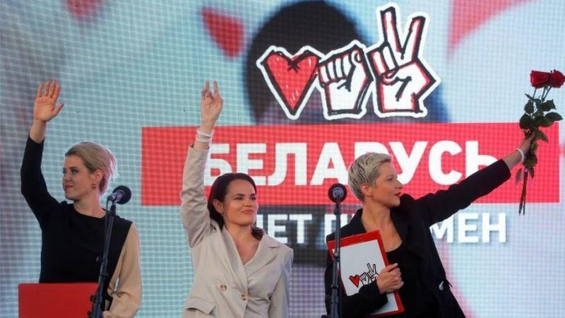 Светлана Тихановская объединила усилия с Веронкией Цепкало и Марией Колесниковой. Фото: AFP