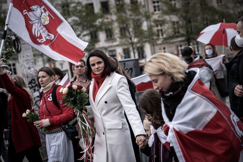 Светлана Цихановская участвует в марше солидарности, организованном «Друзьями Беларуси» в Копенгагене, Дания, 23 октября 2020 г. Эмиль Хелмс / Ritzau Scanpix / REUTERS