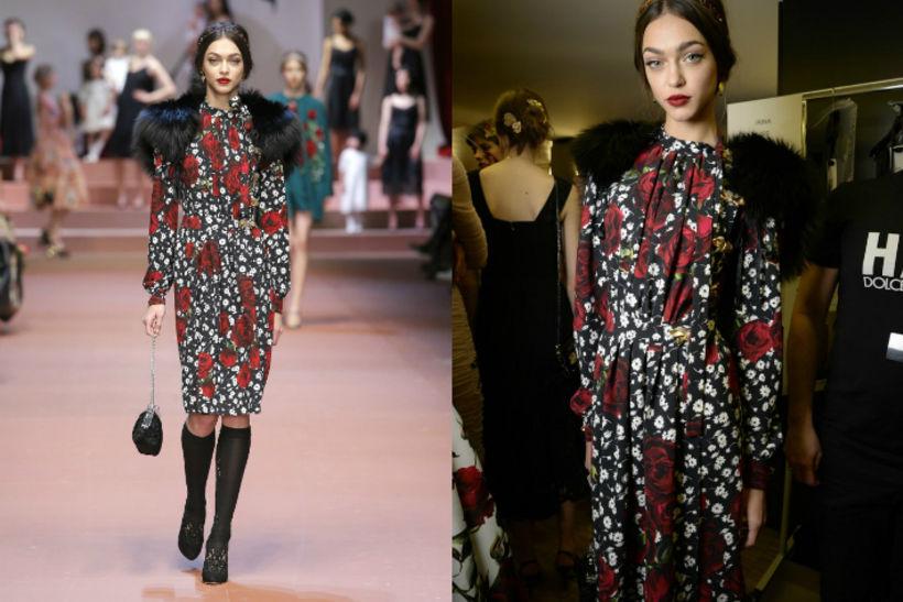 Женя Катова на показе Dolce&Gabbana FW15-16