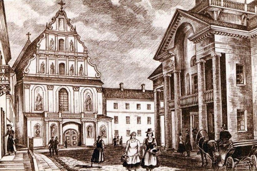 Минск, Соборная площадь. Базилианская церковь. Справа - Ратуша. 1850-е