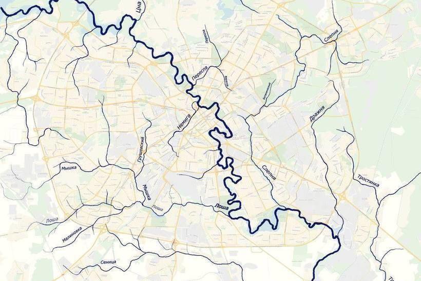 Карта рек и ручьёв, нарисованная Андреем