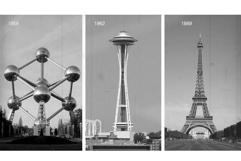 слева направо: Атомиум в Брюсселе, Спейс Нидл с Сиетле, Эйфелева башня в Париже