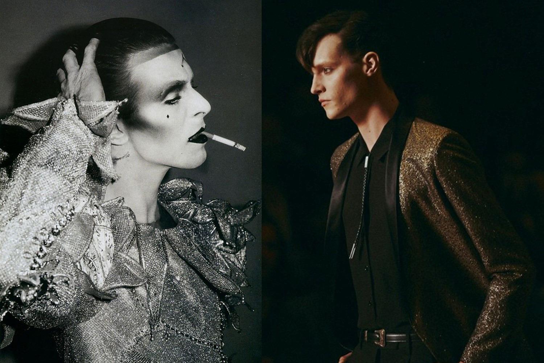 Дэвид Боуи и модель с показа Saint Laurent SS14