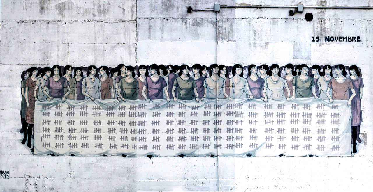 Стрит-арт к Международному деню борьбы за ликвидацию насилия в отношении женщин. Автор: Hyuro