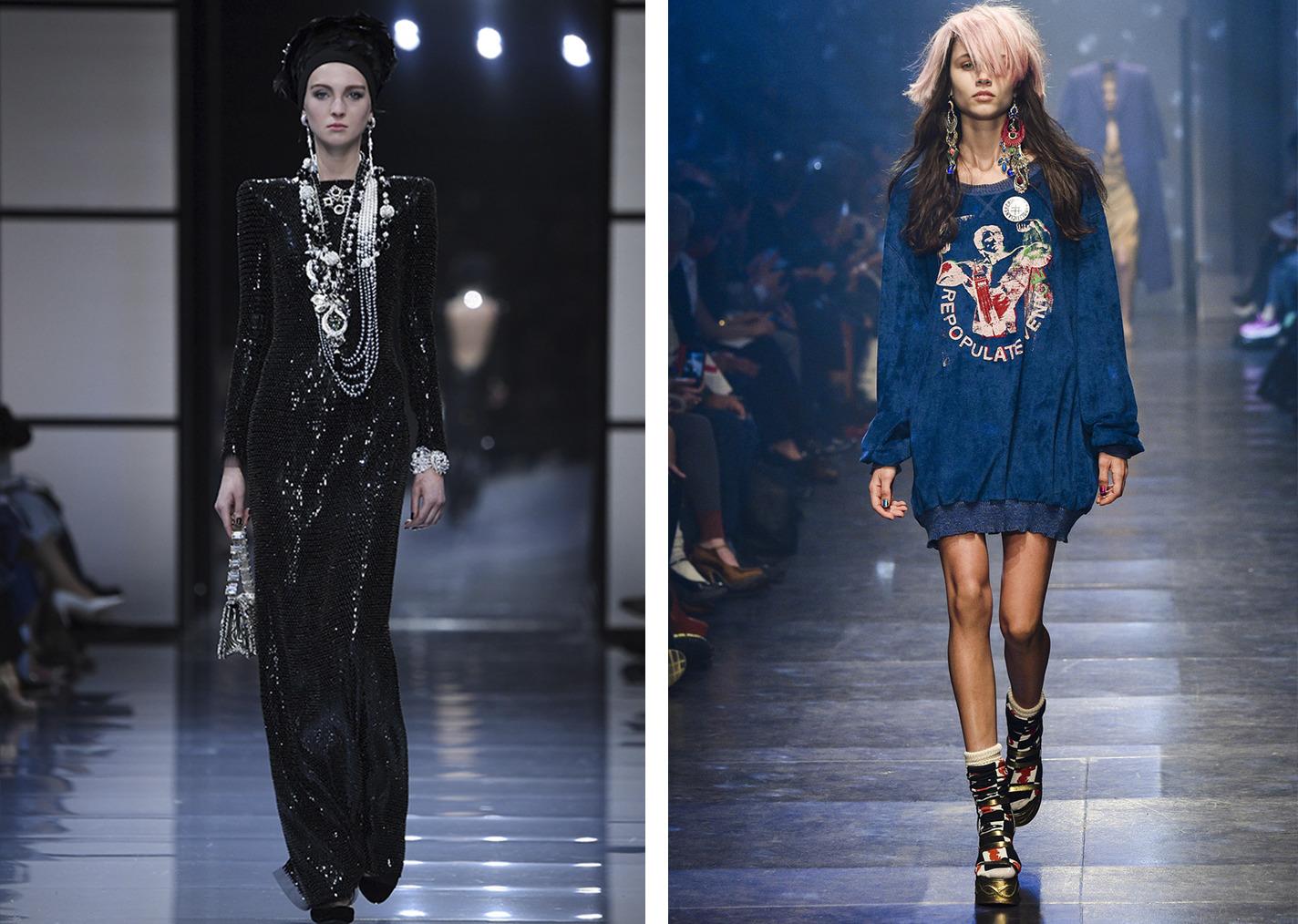 Фото с показа Armani (fw-daily.com), Vivienne Westwood (elle.ru)