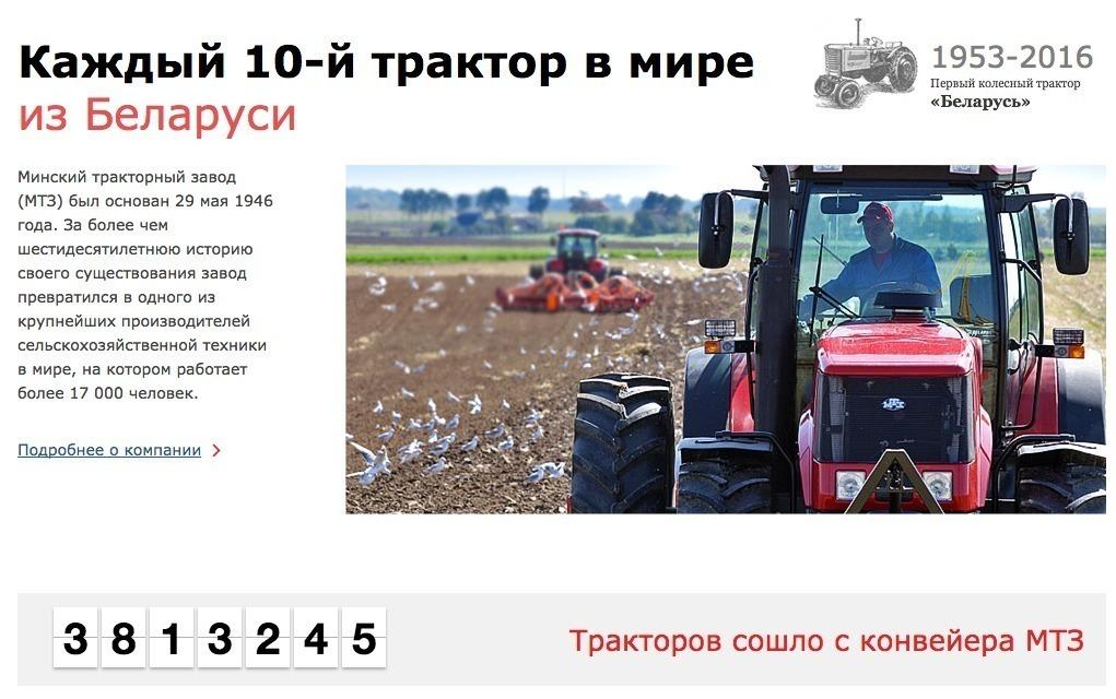 Скриншот с сайта МТЗ (www.belarus-tractor.com)