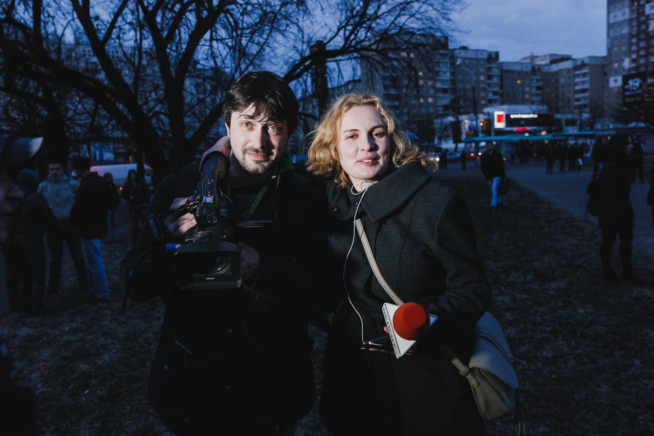 Екатерина Андреева и Александр Борозенко на марше «нетунеядцев» 15 марта. Фото: Анастасия Рогатко