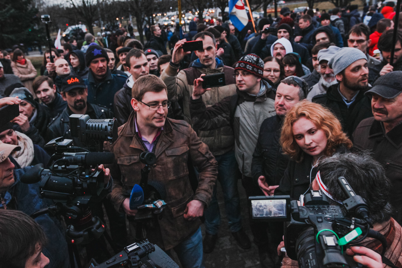 Екатерина Андреева на марше «нетунеядцев» 15 марта. Фото: Анастасия Рогатко