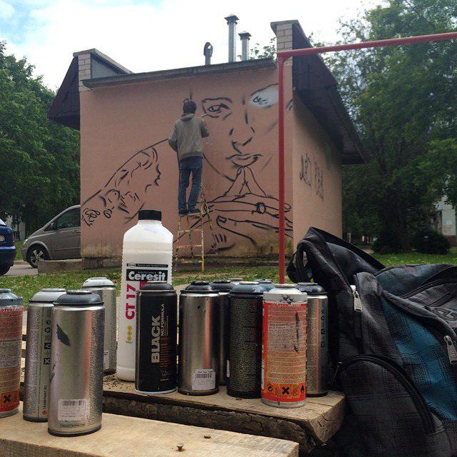 Граффитист из Hoodgraf рисует Эминема