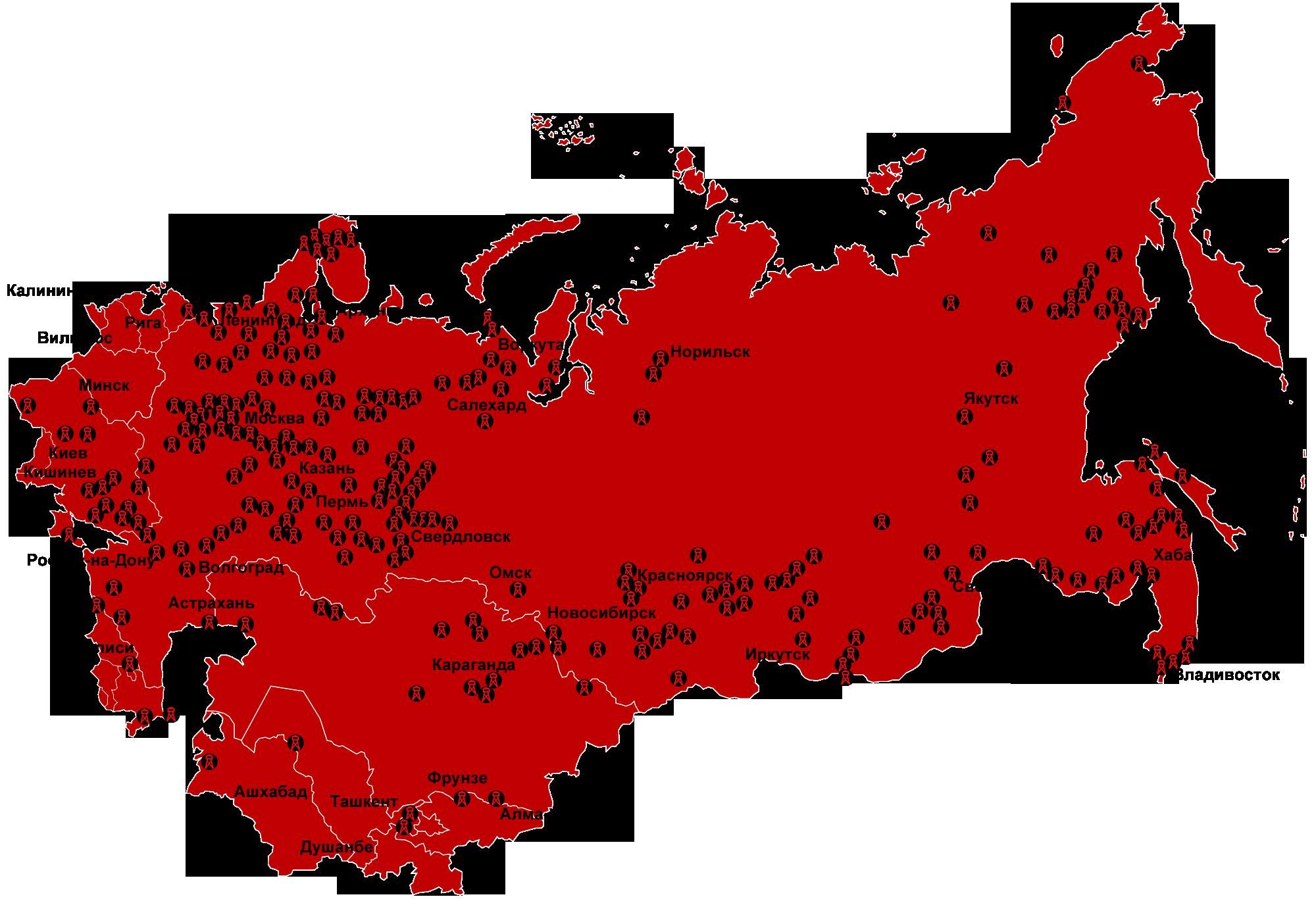 Карта расположения лагерей
