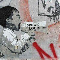 Thumb speak louder street art by .fra in berlin